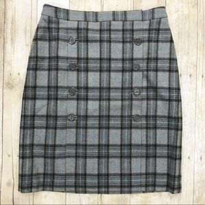 Brooks Brothers Wool Button Front Plaid Skirt 10 P